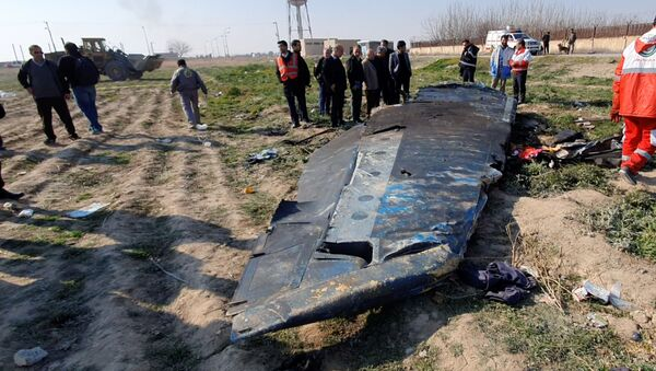 General view of the debris of the Ukraine International Airlines, flight PS752, Boeing 737-800 plane that crashed after take-off from Iran's Imam Khomeini airport, on the outskirts of Tehran, Iran January 8, 2020 - Sputnik International