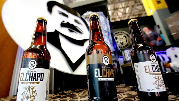 Bottles of beer of El Chapo 701, a line in clothing, jewelry and liquor bearing the nickname of the jailed Mexican drug lord Joaquin El Chapo Guzman Loera, are displayed during the 72 edition of IM Intermoda Mexico fashion fair in Guadalajara, Mexico, on January 14, 2020 - Sputnik International
