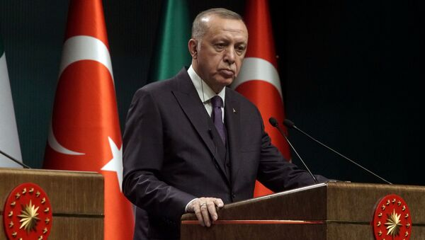 FILE PHOTO: Turkish President Tayyip Erdogan reacts during a news conference in Ankara, Turkey January 13, 2020 - Sputnik International