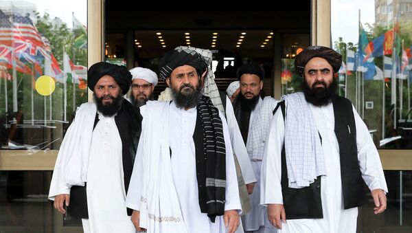 File picture of members of a Taliban delegation leaving after peace talks with Afghan senior politicians in Moscow, Russia May 30, 2019. - Sputnik International