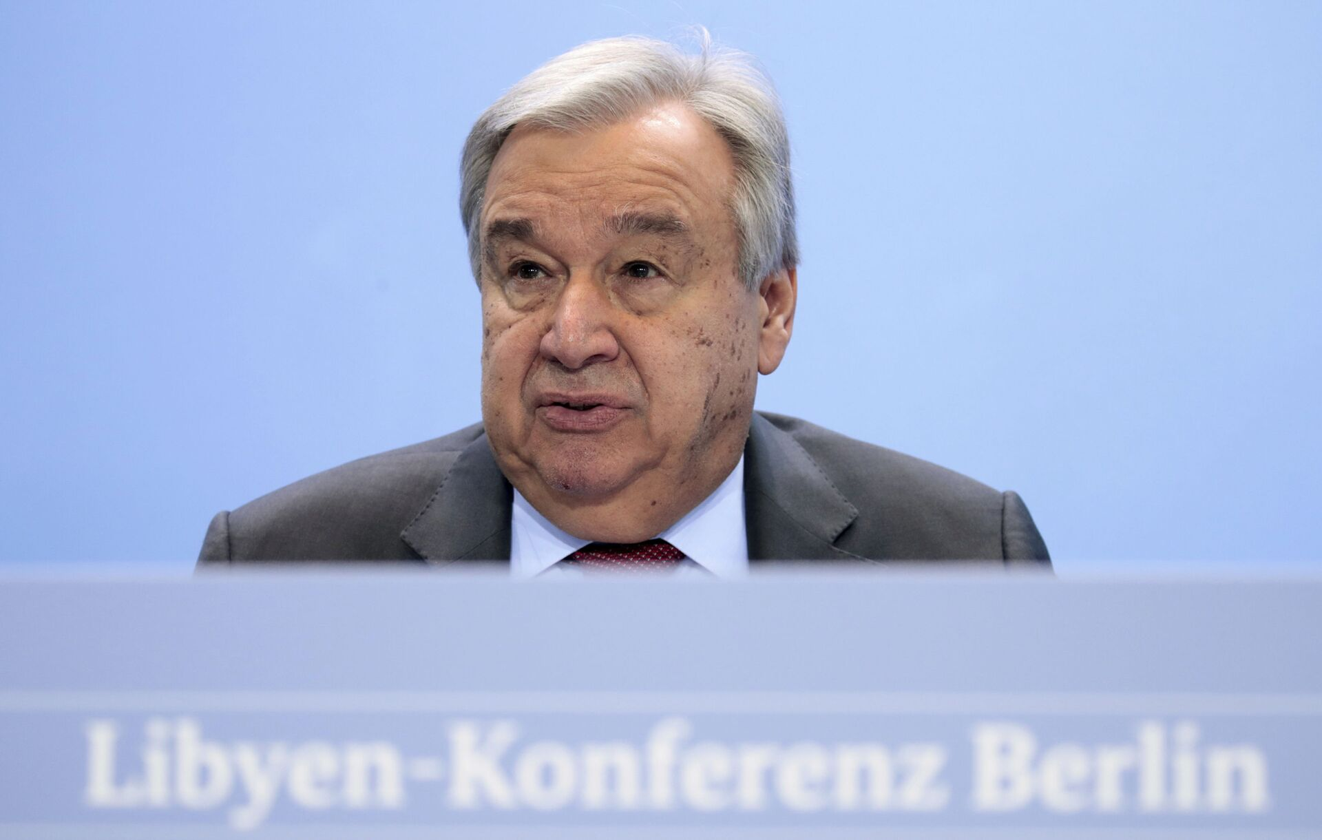 United Nations Secretary-General Antonio Guterres speaks during a news conference after the conference on Libya at the chancellery in Berlin, Germany, Sunday, Jan. 19, 2020.  - Sputnik International, 1920, 17.09.2021