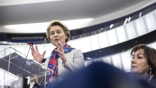European Commission President Ursula von der Leyen delivers her speech at the European parliament Tuesday, Jan.14, 2020 in Strasbourg, eastern France. - Sputnik International