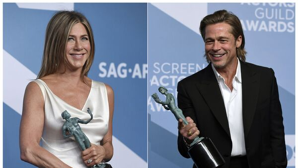 This combination photo shows Jennifer Aniston with the award for outstanding performance by a female actor in a drama series for The Morning Show, left, and Brad Pitt with the award for outstanding performance by a male actor in a supporting role for Once Upon a Time in Hollywood at the 26th annual Screen Actors Guild Awards at the Shrine Auditorium & Expo Hall on Sunday, Jan. 19, 2020, in Los Angeles. (Photos by Jordan Strauss/Invision/AP) - Sputnik International