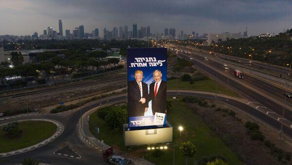 A massive election campaign billboard of the Likud party shows Israeli Prime Minister Benjamin Netanyahu, right, and US President Donald Trump in Tel Aviv, Israel, 8 September 2019 - Sputnik International