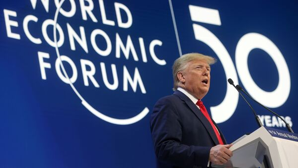 U.S. President Donald Trump delivers a speech during the 50th World Economic Forum (WEF) annual meeting in Davos, Switzerland, January 21, 2020 - Sputnik International