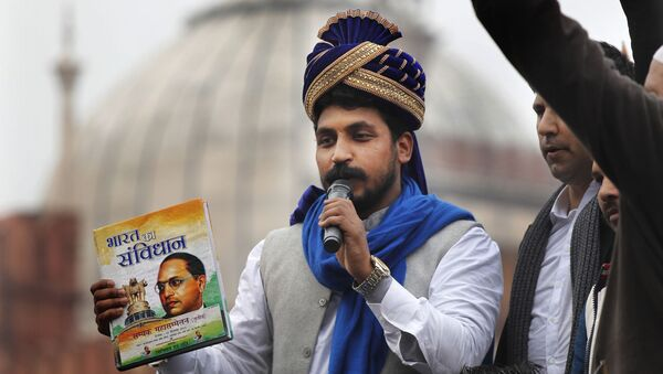 Chandrashekhar Azad, leader of the Bhim Army, a political party of Dalits who represent the Hinduism's lowest caste, center, speaks during a protest against a new Citizenship law, after Friday prayers in New Delhi, India, Friday, Jan. 17, 2020 - Sputnik International