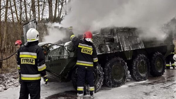 US Army Stryker infantry carrier caught fire in Poland - Sputnik International