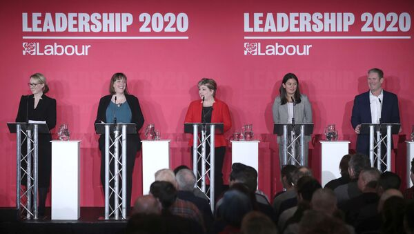 From left, Labour Members of Parliament, Rebecca Long-Bailey, Jess Phillips, Emily Thornberry, Lisa Nandy and Keir Starmer stand on the stage, during the first Labour leadership hustings at the ACC Liverpool, in Liverpool, England, Saturday, Jan. 18, 2020.  - Sputnik International