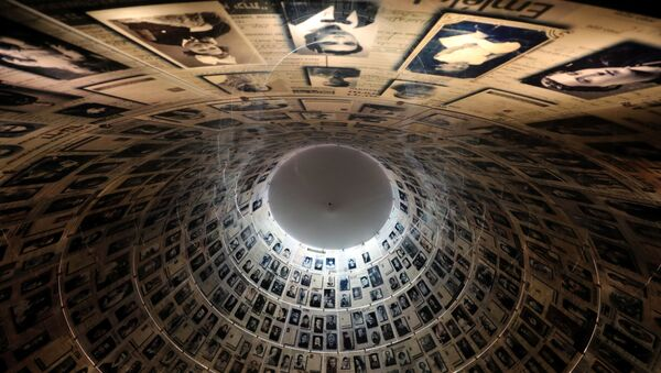 A view from below shows pictures of Jews killed in the Holocaust displayed at the Hall of Names in the Holocaust History Museum at the Yad Vashem World Holocaust Remembrance Centre in Jerusalem, 15 January 2020 - Sputnik International