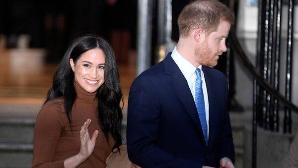 Britain's Prince Harry and his wife Meghan, Duchess of Sussex, leave Canada House in London, 7 January 2020 - Sputnik International