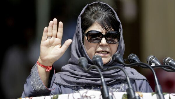 Jammu and Kashmir state Chief Minister Mehbooba Mufti speaks during an Independence Day parade in Srinagar, Indian controlled Kashmir, Tuesday, Aug. 15, 2017 - Sputnik International