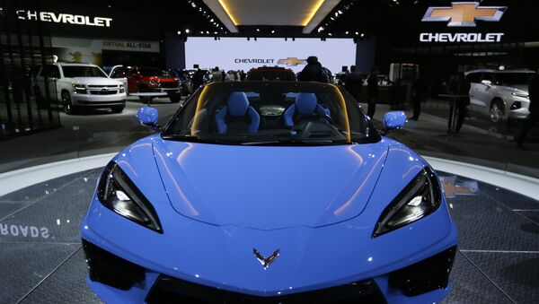 Chevrolet's 2020 Chevrolet Corvette Stingray Convertible is displayed at the AutoMobility LA Auto Show in Los Angeles Wednesday, Nov. 20, 2019. - Sputnik International