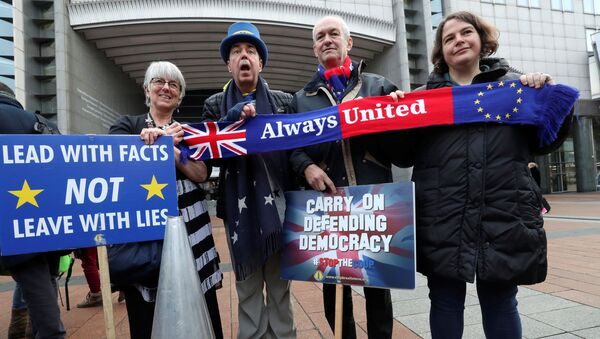 Westminster protester and anti-Brexit activist Steve Bray and members of the European Parliament take part in a protest outside the EU Parliament in Brussels, Belgium January 23, 2020 - Sputnik International