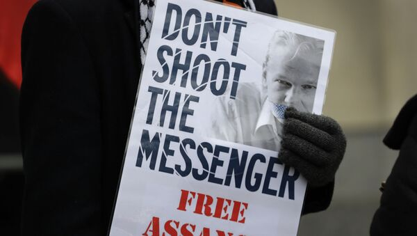 A demonstrator supporting Julian Assange holds a banner outside Westminster Magistrates Court in London, Thursday, Jan. 23, 2020 - Sputnik International