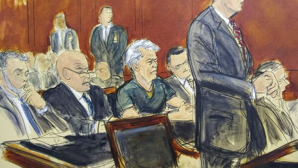 In this courtroom artist's sketch, defendant Jeffrey Epstein, center, listens as Assistant U.S. Attorney Alex Rossmiller, right, addresses the court during Epstein's arraignment, Monday, July 8, 2019 in New York - Sputnik International