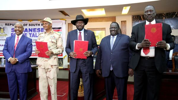 After signing Sudan's initial political and security deal with rebel group at the State House in Juba - Sputnik International