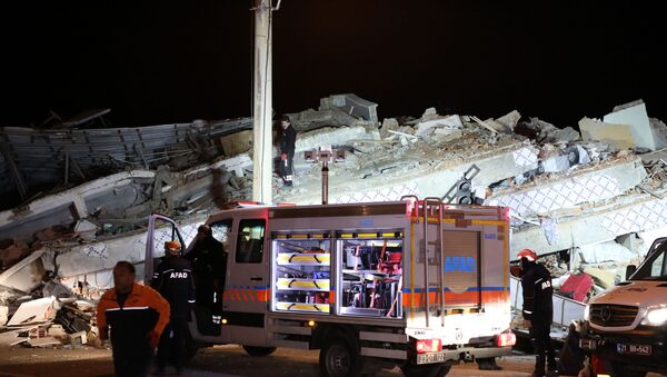 AFAD (The Disaster and Emergency Management Presidency) car at the site of the earthquake in Eastern Turkey - Sputnik International