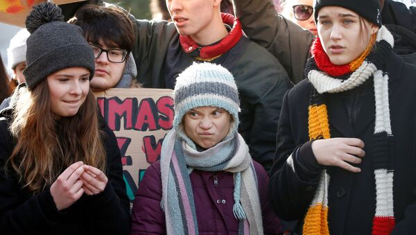 Swedish climate change activist Greta Thunberg  takes part in a climate strike protest during the 50th World Economic Forum (WEF) annual meeting in Davos - Sputnik International