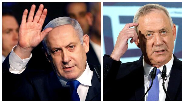 A combination picture shows Israeli Prime Minister Benjamin Netanyahu in Tel Aviv, Israel November 17, 2019, and leader of Blue and White party Benny Gantz in Tel Aviv, Israel November 20, 2019 - Sputnik International