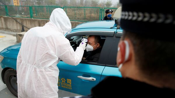 A medical worker in protective suit checks the body temperature of a driver at a checkpoint outside the city of Yueyang, Hunan Province, near the border to Hubei Province that is on lockdown after an outbreak of a new coronavirus, China, January 28, 2020.   - Sputnik International