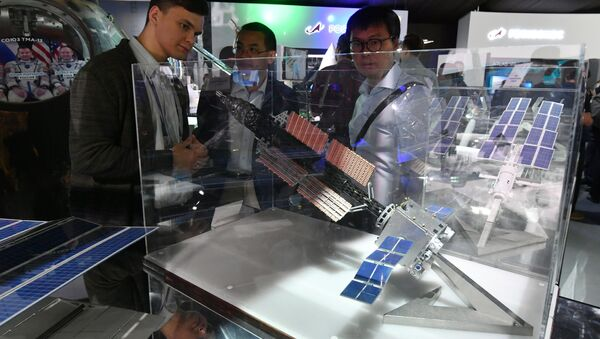 Model of prototype of the prospective space tug transport and energy module at the International Aviation and Space Salon in Zhukovsky, Moscow Region, August 2019. - Sputnik International