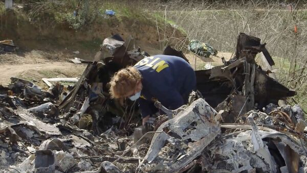 An investigator works at the site of the helicopter crash that killed Kobe Bryant and eight others in a screen grab taken in Calabasas, California, U.S. January 27, 2020 and released by the National Transportation Safety Board. - Sputnik International