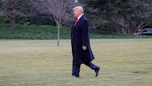 U.S. President Donald Trump Walks to a waiting Marine One helicopter as he departs for travel to New Jersey from the South Lawn of the White House in Washington, U.S. January 28, 2020.  - Sputnik International