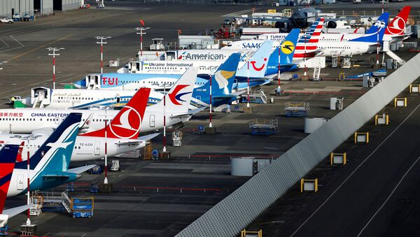 An aerial photo shows several Boeing 737 MAX airplanes grounded at Boeing Field in Seattle, Washington, U.S. March 21, 2019 - Sputnik International