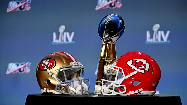 Jan 29, 2020; Miami, Florida, USA;A general view of the helmets of the San Francisco 49ers and Kansas City Chiefs and the Vince Lombardi Trophy on display prior to NFL commissioner Roger Goodell speaking with he media in Miami Florida at the Hilton Downtown.  - Sputnik International