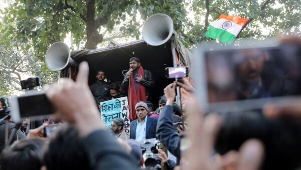 India's left-wing youth leader Kanhaiya Kumar addresses people during a protest against the attacks on the students of Jawaharlal Nehru University (JNU), in New Delhi, India, January 9, 2020 - Sputnik International