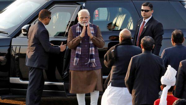 India's Prime Minister Narendra Modi arrives to attend the Beating the Retreat ceremony in New Delhi, India, January 29, 2020. - Sputnik International