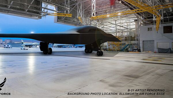 This is an artist rendering of a B-21 Raider concept in a hangar at Ellsworth Air Force Base, S.D. Ellsworth AFB is one of the bases expected to host the new airframe. (Courtesy graphic by Northrop Grumman) - Sputnik International