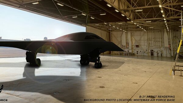 This is an artist rendering of a B-21 Raider concept in a hangar at Whiteman Air Force Base, Mo. Whiteman AFB is one of the bases expected to host the new airframe. (Courtesy graphic by Northrop Grumman) - Sputnik International