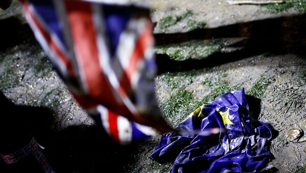 The flag of the European Union is pictured on the ground covered with a mud on Brexit day in London, Britain January 31, 2020.  - Sputnik International