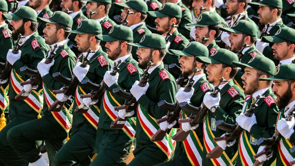Members of Iran's Revolutionary Guards Corps (IRGC) marching during the annual military parade which markins the anniversary of the outbreak of the devastating 1980-1988 war with Saddam Hussein's Iraq, in the capital Tehran. - Sputnik International