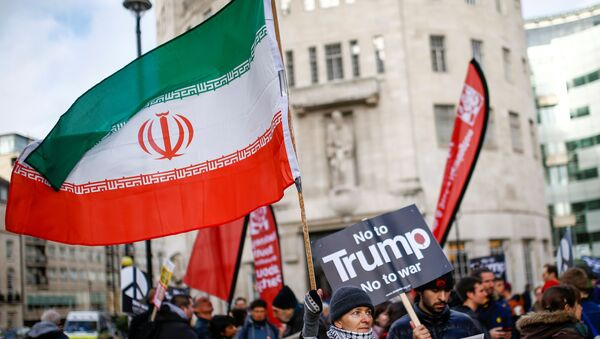 A demonstrator holds an Iranian flags while attending a protest to oppose the threat of war with Iran, in London, Britain January 11, 2020.   - Sputnik International
