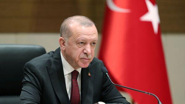 Turkish President Tayyip Erdogan speaks during a news conference in Istanbul, Turkey, February 3, 2020 - Sputnik International