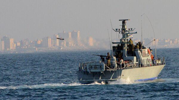 Israel Navy Strike Gaza from the Sea - Sputnik International