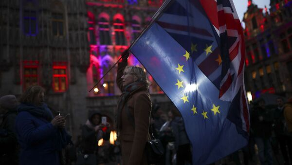 A woman holds up the Union and the European Union flags during an event called Brussels calling to celebrate the friendship between Belgium and Britain at the Grand Place in Brussels, Thursday, Jan. 30, 2020 - Sputnik International
