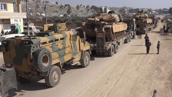 In this frame grab from video taken on Sunday, Feb. 2, 2020, a Turkey Armed Forces convoy is seen at the northern town of Sarmada, in Idlib province, Syria - Sputnik International
