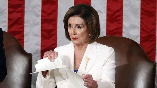 House Speaker Nancy Pelosi of Calif., tears her copy of President Donald Trump's State of the Union address after he delivered it to a joint session of Congress on Capitol Hill in Washington, Tuesday, Feb. 4, 2020. - Sputnik International