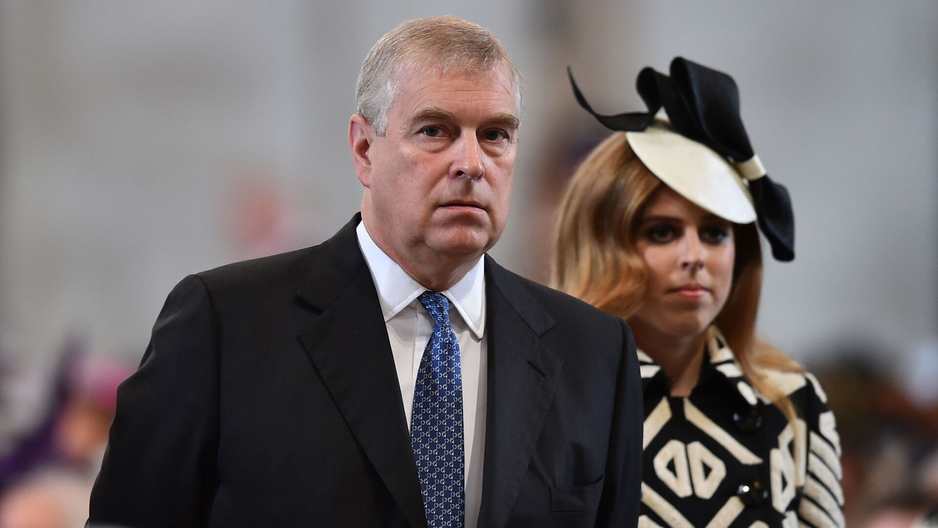 Britain's Prince Andrew and Princess Beatrice arrive for a National Service of Thanksgiving to mark the 90th birthday of Britain's Queen Elizabeth II at St Paul's Cathedral in London, Friday, June 10, 2016. - Sputnik International, 1920, 19.09.2021