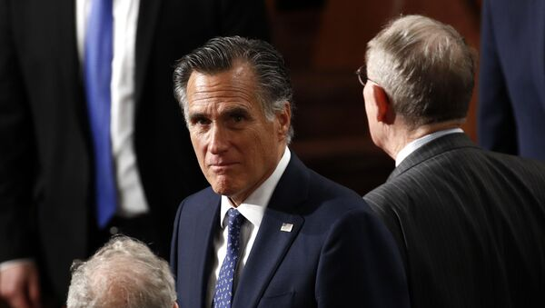 Sen. Mitt Romney, R-Utah, arrives before President Donald Trump delivers his State of the Union address to a joint session of Congress on Capitol Hill in Washington, Tuesday, Feb. 4, 2020. - Sputnik International