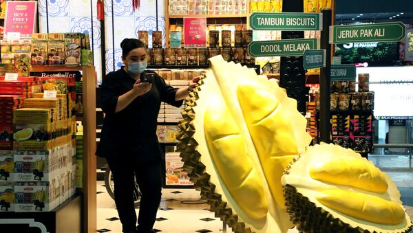 A shopkeeper wearing mask uses her phone at a souvenirs shop at Kuala Lumpur International Airport, following the outbreak of a new coronavirus in China, in Sepang, Malaysia, February 4, 2020 - Sputnik International