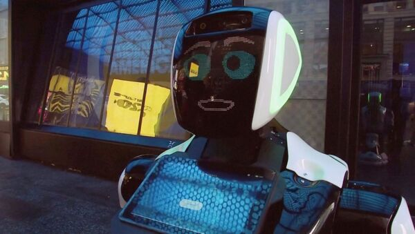 A Promobot robot that informs the public about the symptoms of coronavirus and how to prevent it from spreading, stands in Times Square in this still frame obtained from video, in New York City, U.S.  February 10, 2020. - Sputnik International