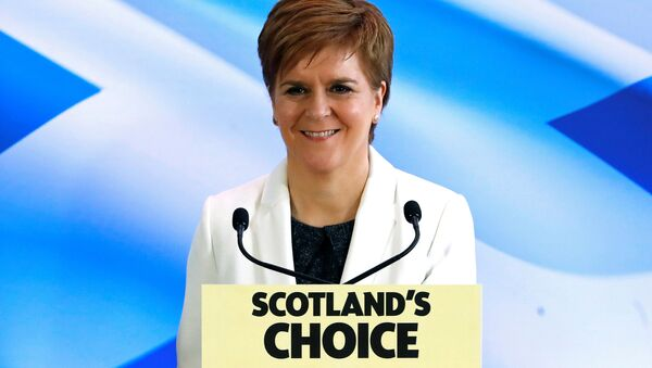 Scotland's First Minister Nicola Sturgeon reacts as she delivers a speech, on Brexit day, in Edinburgh, Scotland, Britain January 31, 2020.  - Sputnik International