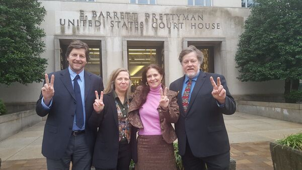 The Embassy Protection Collective Four outside the US courthouse prior to their February 2020 trial. Left to right: David Paul, Margaret Flowers, Adrienne Pine, and Kevin Zeese. - Sputnik International
