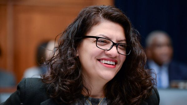 Rep. Rashida Tlaib (D-MI) participates in a House Financial Services Committee hearing with Facebook Chairman and CEO Mark Zuckerberg in Washington, U.S., October 23, 2019. - Sputnik International