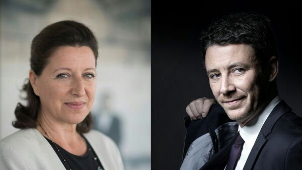 This combination of pictures created on February 16, 2020 shows French Minister for Solidarity and Health Agnes Buzyn (L) posing in her office during a photo session in Paris, on September 17, 2018, and LREM political movement's spokesperson Benjamin Griveaux posing during a photo session on October 14, 2016 in Paris - Sputnik International