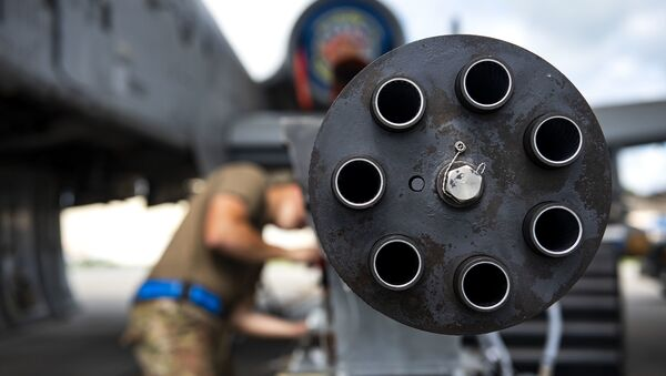 A 30mm GAU-8 Gatling Gun system gets secured during unscheduled maintenance, July 23, 2019, at Moody Air Force Base, Ga. Unscheduled maintenance occurs when discrepancies are discovered with A-10C Thunderbolt II weapon systems - Sputnik International